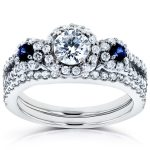 Three-Stone Blue Sapphire and Diamond Halo Bridal Set 1 1/5 CTW in14k White Gold