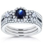 Round Sapphire and Diamond Halo 3 Piece Bridal Set 1 2/5 CTW in14k White Gold