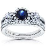Three-Stone Sapphire and Diamond Halo Bridal Set 1 1/5 CTW in14k White Gold