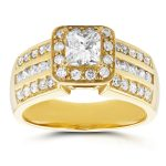 Three-Row Princess Diamond Halo Engagement Ring 1 CTW in 14k Yellow Gold