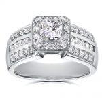 Three-Row Princess Diamond Halo Engagement Ring 1 CTW in 14k White Gold