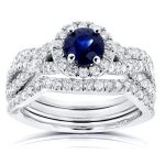 Round Sapphire and Halo Diamond Criss Cross Bridal Set 1 2/5 CTW in 14k White Gold (3 Piece Set)
