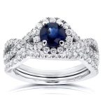 Sapphire and Halo Diamond Criss Cross Bridal Set 1 1/5 CTW in 14k White Gold