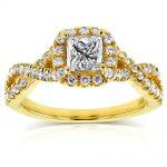 Princess Diamond Braided Engagement Ring 1 CTW in 14k Yellow Gold