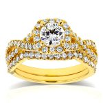 Cushion Halo Diamond Criss Cross Bridal Set 1 1/5 CTW in 14k Yellow Gold