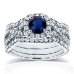 Sapphire and Cushion Halo Diamond 3-Piece Bridal Set 1 2/5 CTW in 14k White Gold