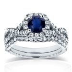 Sapphire and Halo Cushion Diamond Criss Cross Bridal Set 1 1/5 CTW in 14k White Gold