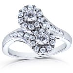Two Stone Diamond Curved Ring 1 CTW in 14k White Gold