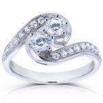 Two Stone Diamond Swirl Ring 1 CTW in 14k White Gold