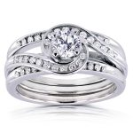 Diamond Bypass Bridal Ring Set 4/5 CTW in 14k White Gold (3 Piece Set)
