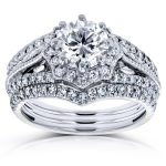 Diamond Star Halo Bridal Set 1 5/8 CTW 14k White Gold (3 Piece Set)