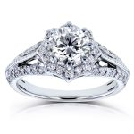 Diamond Star Halo Engagement Ring 1 1/3 CTW in 14k White Gold
