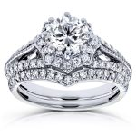 Diamond Star Halo Bridal Set 1 1/2 CTW 14k White Gold (2 Piece Set)