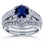 Blue Sapphire and Diamond Star Halo Bridal Set 1 7/8 CTW 14k White Gold (3 Piece Set)