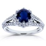 Blue Sapphire and Diamond Star Halo Engagement Ring 1 3/5 CTW In 14k White Gold