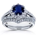 Blue Sapphire and Diamond Star Halo Bridal Set 1 3/4 CTW In 14k White Gold