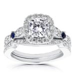 Diamond and Sapphire Bridal Set 1 3/4 Carat (ctw) in 14k White Gold