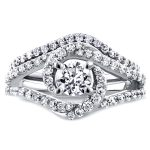 Round Diamond Crossover Swirl Bridal Set 1 1/5 CTW in 14k White Gold