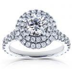 Round Diamond Double Halo Split Shank Engagement Ring 2 1/10 CTW in 14k White Gold