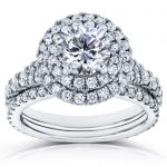 Round Diamond Double Halo Split Shank Bridal Rings Set 2 2/5 CTW in 14k White Gold