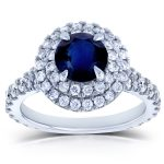 Blue Sapphire and Diamond Double Halo Split Shank Engagement Ring 2 1/3 CTW 14k White Gold