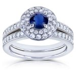 Blue Sapphire and Diamond Dome Double Halo Bridal Rings 1 1/8 TCW 14k White Gold