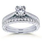Round-cut Diamond Vintage Bridal Rings Set 7/8 Carat (ctw) in 14k White Gold