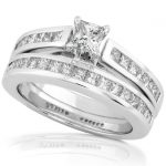 Diamond Engagement Ring & Wedding Band Set 1 1/3 Carat (ctw) in 14K White Gold