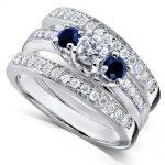 Blue Sapphire & Diamond Bridal Ring Set 7/8 Ct (ctw) in 14k White Gold (3 Piece Set)