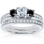 Black and White Diamond Wedding Set 7/8 carat (ctw) in 14K White Gold