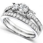 Three-Stone Diamond Engagement Ring and Wedding Band Set 3/4 carat (ctw) in 14k White Gold