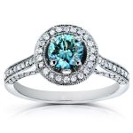 Art Deco Fancy Blue Halo Diamond Ring 1 Carat (ctw) in 14k White Gold