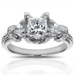 Certified Princess Cut 3-Stone Diamond Engagement Ring 1 4/5 CTW in 14k White Gold