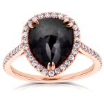 Rose-cut Black Diamond Pear Shaped Halo Ring 4 3/4 CTW in 14k Rose Gold