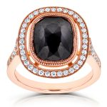 Cushion Black Diamond and Floating Halo Double Milgrain Ring 4 3/5 CTW in 14k Rose Gold