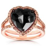 Rose-Cut Heart Shaped Black Diamond Halo Ring 5 CTW in 18k Rose Gold