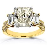 Three-Stone Radiant and Emerald Diamond Engagement Ring 5 4/5 CTW in 18k Two-Tone Gold (Certified)