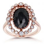 Oval Black and White Diamond Bezel Halo Ring 3 1/3 CTW In 14k Rose Gold