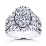 Oval Cluster Diamond Engagement Ring 3 CTW 14k White Gold