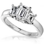 Diamond Three-Stone Engagement Ring 1 1/4 carats (ctw) in 14K White Gold (Certified)