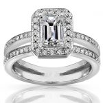Emerald Cut Diamond Ring 1 1/3 Carat (ctw) in 14k White Gold
