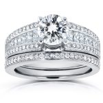 Round and Princess Baguette Diamond Bridal Set 1 7/8 CTW in 14k White Gold