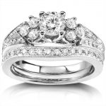 Diamond Wedding Ring Set 1 carat (ctw) Bridal Set in 14K White Gold