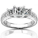 Diamond Three-Stone Engagement Ring 1 1/2 carats (ctw) in 14K White Gold (Certified)