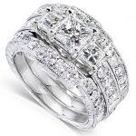 Princess Diamond Wedding Ring Set 1 7/8 carats (ctw) in 14K White Gold (3 Piece Set)