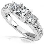 Diamond Three-Stone Engagement Ring 1 1/3 carats (ctw) in 14K White Gold