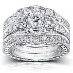 Three Stone Round Diamond Bridal Set 1 1/4 carat (ctw) in 14k White Gold (3 Piece Set)