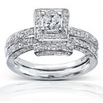 Princess Cut Diamond Bridal Set 5/8 Carat (ctw) in 14K White Gold