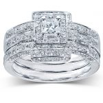 Princess Cut Diamond Bridal Set 4/5 Carat (ctw) in 14K White Gold (3 Pieces Set)
