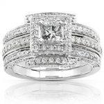 Diamond 3 Ring Wedding Set 1 1/2 carat (ctw) in 14k White Gold